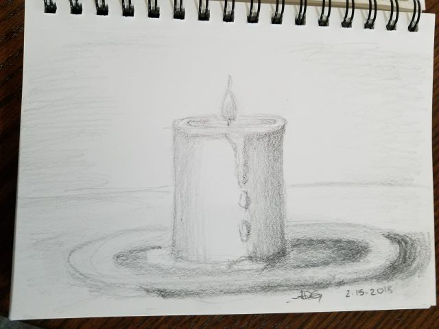 Graphite Burning Candle Sketch
