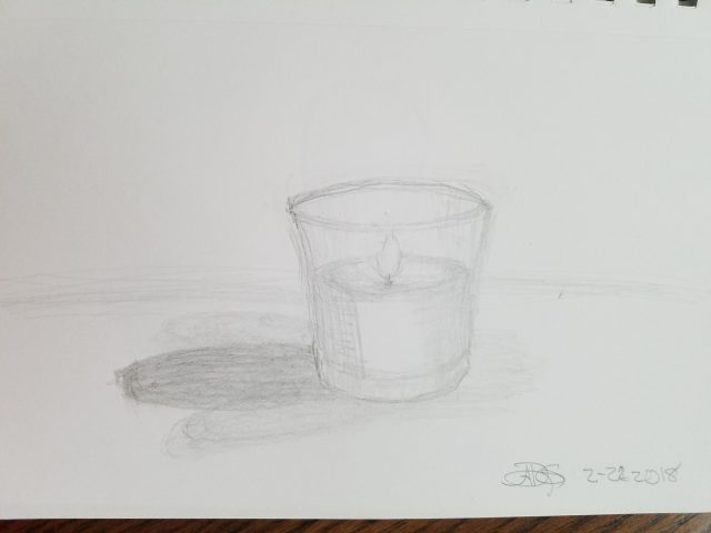 Candle in a Glass Graphite Sketch